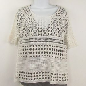 Chelsea & Theodore Crochet Cotton Sweater M-L